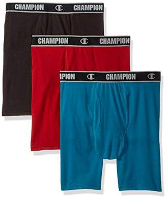 Champion Men's Cotton Performance Long Boxer Brief Black/Mermaid
