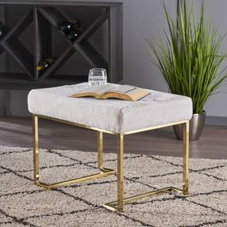 Noble House Leeman Glam Furry Bench with Gold Metal Legs,White
