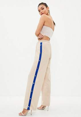 Missguided Nude Popper Side Wide Leg Joggers, Sand