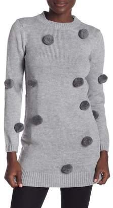 ENGLISH FACTORY Furry Pom Pom Knit Sweater