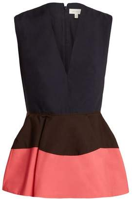 DELPOZO Colour Block Peplum Cotton Top - Womens - Pink Navy