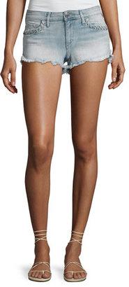 True Religion Joey Denim Cutoff Shorts with Whipstitch Trim, Cloud Nine $159 thestylecure.com