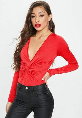 Missguided Red Long Sleeve Knot Front Bodysuit