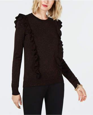 Michael Kors Metallic Ruffle-Detail Sweater
