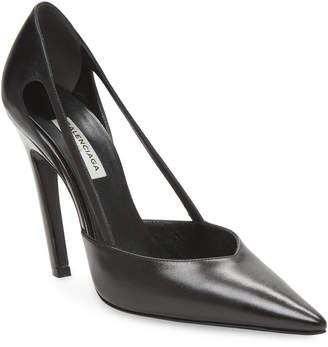 Balenciaga Cut-Out Leather Stiletto Pump