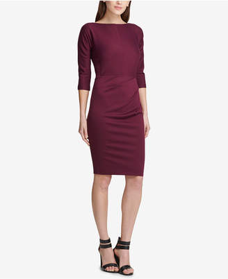 DKNY Ruched Ponte-Knit Sheath Dress