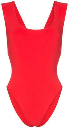 Araks red Jireh scoop neck cutout swimsuit