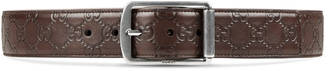 Guccissima leather belt with rectangular buckle $380 thestylecure.com