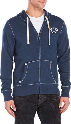 True Religion Flocked Logo Zip-Up Hoodie