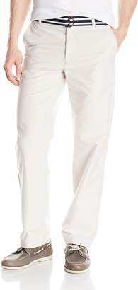 Izod Men's Flat Front Belted Newport Solid Oxford Pant