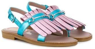 Gucci Kids fringed horsebit sandals