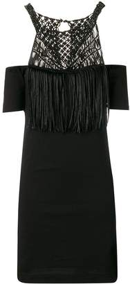 Diesel Black Gold macramé cold shoulder dress