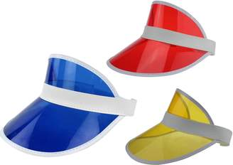 Ababalaya Unisex SPF 50+ UV Protection PVC Wide Brim Transparent Sun Visor Hat