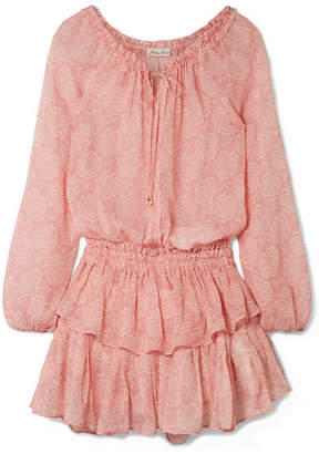 LoveShackFancy Ruffled Printed Silk-georgette Mini Dress - Antique rose