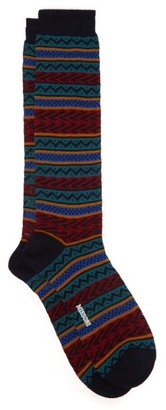 Missoni Fair Isle Knee High Cotton Socks - Mens - Green Multi