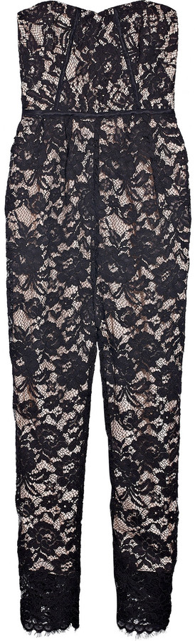 Tibi Lace and silk corseted jumpsuit