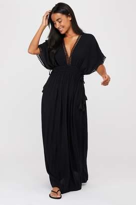 Accessorize Womens Black Double Channel Maxi Dress - Black
