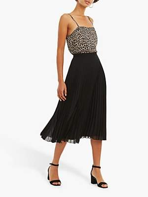Oasis Pleated Midi Skirt, Black