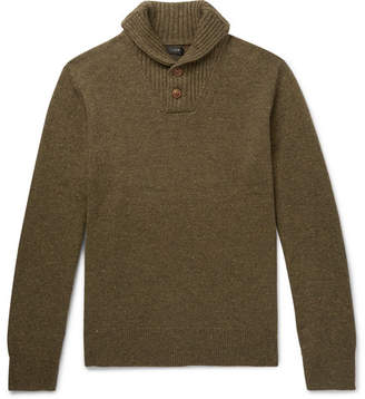 J.Crew Shawl-Collar Merino Wool-Blend Sweater - Green