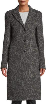 RtA Jamson Leopard-Print Wool Long Coat