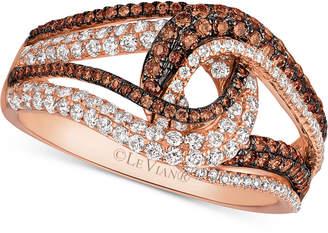 LeVian Le Vian Chocolatier Diamond Swirl Ring (9/10 ct. t.w.) in 14k Rose Gold