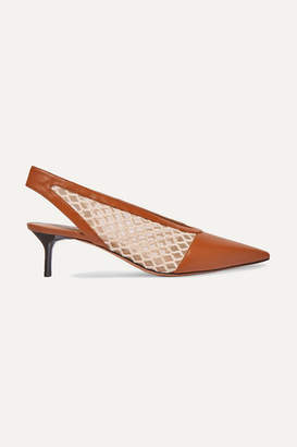 Altuzarra Peppino Fishnet And Leather Slingback Pumps - Tan
