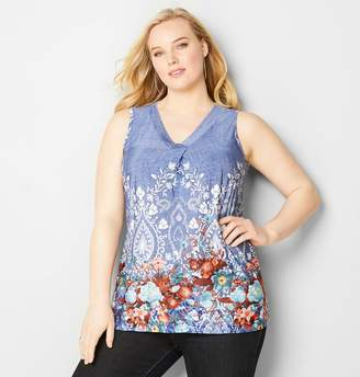 Avenue Denim Paisley Border Tank