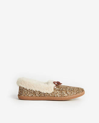 Express Glitter Moccasin Slippers