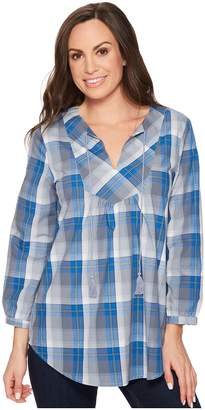 Roper 1262 Blue Grey Plaid Women's Long Sleeve Pullover
