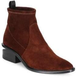Alexander Wang Kori Stacked Heel Suede Booties