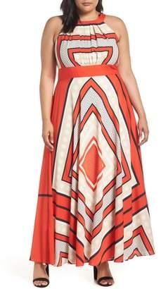 Eliza J Scarf Print Woven Maxi Dress