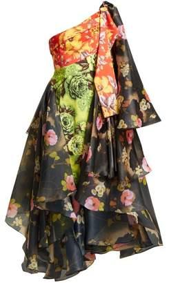 Richard Quinn - One Shoulder Floral Print Organza And Canvas Dress - Womens - Multi
