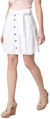 Le Château Women's Lace Button Mini Skirt,M