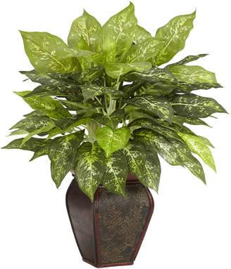 Asstd National Brand Nearly Natural Dieffenbachia With Decorative Vase Silk Plant