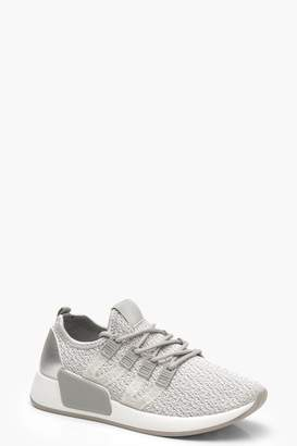 boohoo Knitted Sports Trainers