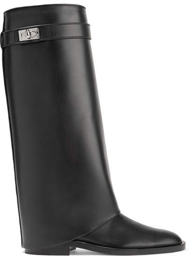 Givenchy - Shark Lock Leather Knee Boots - Black