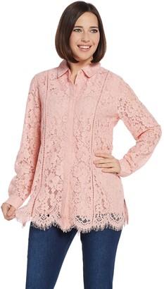 Isaac Mizrahi Live! Lace Button Front Blouse