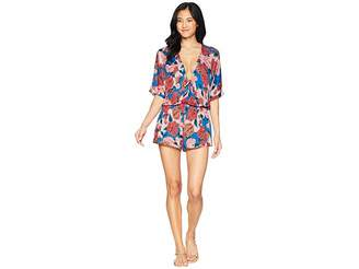 Bikini Lab THE Spanish Bloom Kimono Sleeve Romper Cover-Up