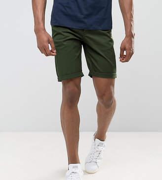 Asos DESIGN Tall slim chino shorts in dark khaki