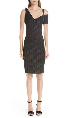 Yigal Azrouel Stretch Weave Stripe Cold Shoulder Dress