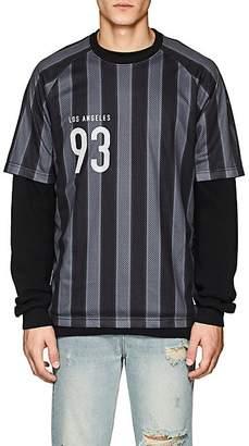Stampd Men's Striped Mesh Soccer Jersey - Black