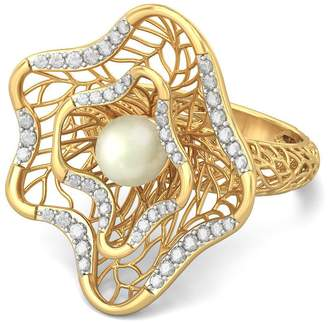 PEACOCK JEWELS Certified 18K Gold (HallMarked), 0.31 cttw White Diamond (IJ | SI ) Off White Pearl and Diamond Engagement Wedding Ring Size - 4
