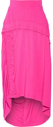 Preen Line Sandy Ruffled Stretch-jersey Midi Skirt - Bright pink
