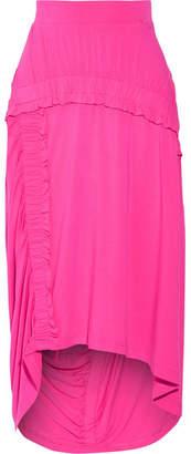 Preen Line Sandy Ruffled Stretch-jersey Midi Skirt - Bright pink