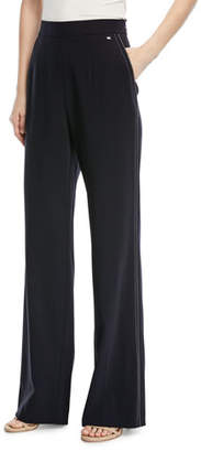 Escada Tiketanatus Wide-Leg Wool Pants with Side Zip