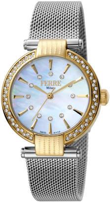 Ferré Milano Women's 34mm Stainless Steel 3-Hand Glitz Milgrain Watch with Bracelet, Golden/Steel