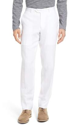 Nordstrom Flat Front Solid Linen Trousers