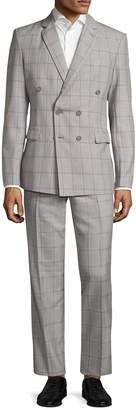 Aspetto Windowpane Notch Lapel Double Breasted Suit