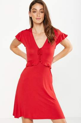 Cotton On Rhiannon Short Sleeve Frill Mini Dress