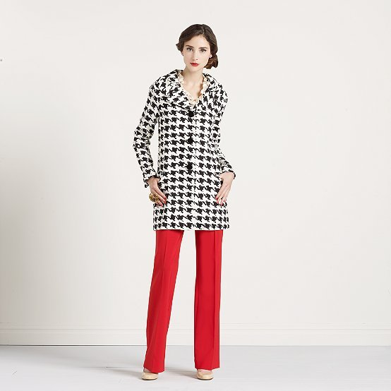 Houndstooth rose coat